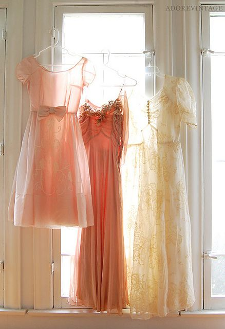 Vintage dresses in window//