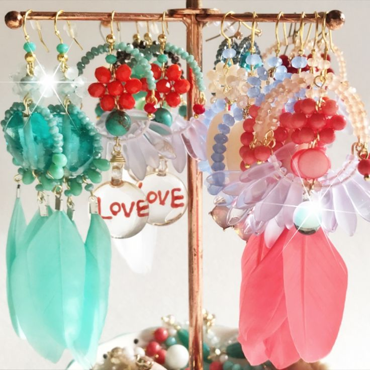My earring stand is packed with semi precious stones, faceted crystals and feathers this summer. Earrings from Printemps Été new collection. Available NOW from Etsy shop. Link: etsy.com/shop/printempsete Worldwide shipping only $9AUD