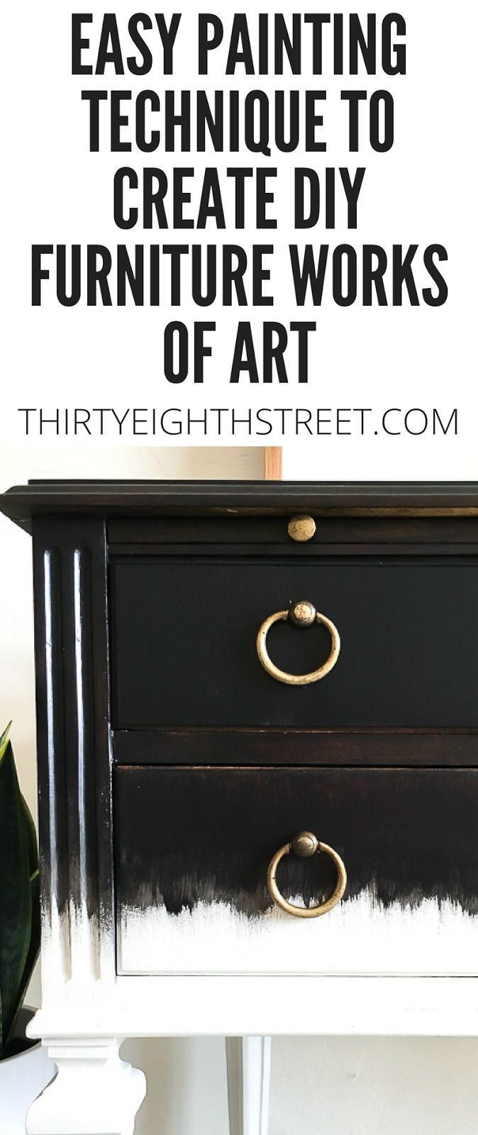 Learn how to use this easy Dry Brush Painting Technique to create furniture that looks like art! Follow this step by step guide and watch our video tutorial to see how we achieved this dry brushing paint technique on our furniture. #verticaldrybrushing