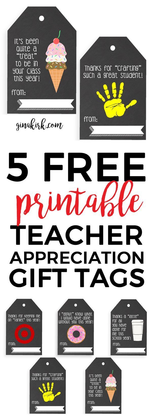 Teacher appreciation gift | DIY teacher gift idea | Printable tag for teacher crafts and gifts! | GinaKirk.com @ginaekirk