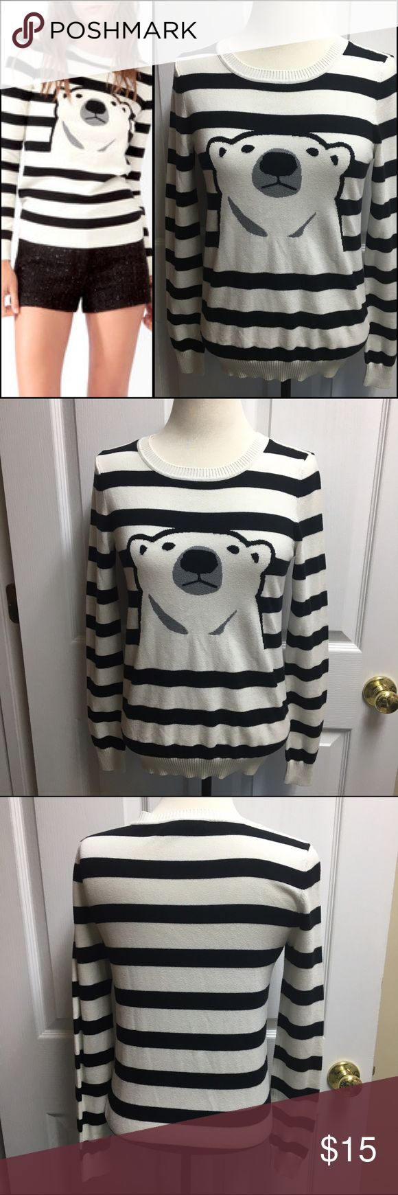 """Forever 21 polar bear sweater Adorable, soft and comfy polar bear sweater by Forever 21, size S. Measures 23"""" long, 15"""" pit to pit. Excellent used condition, smoke free home. Forever 21 Sweaters Crew & Scoop Necks"""