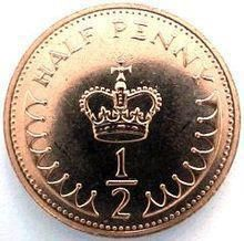 Half Penny. I remember these being introduced and being all new and shiny! My Dad could never handle the fact that we were mixing fractions with decimals!