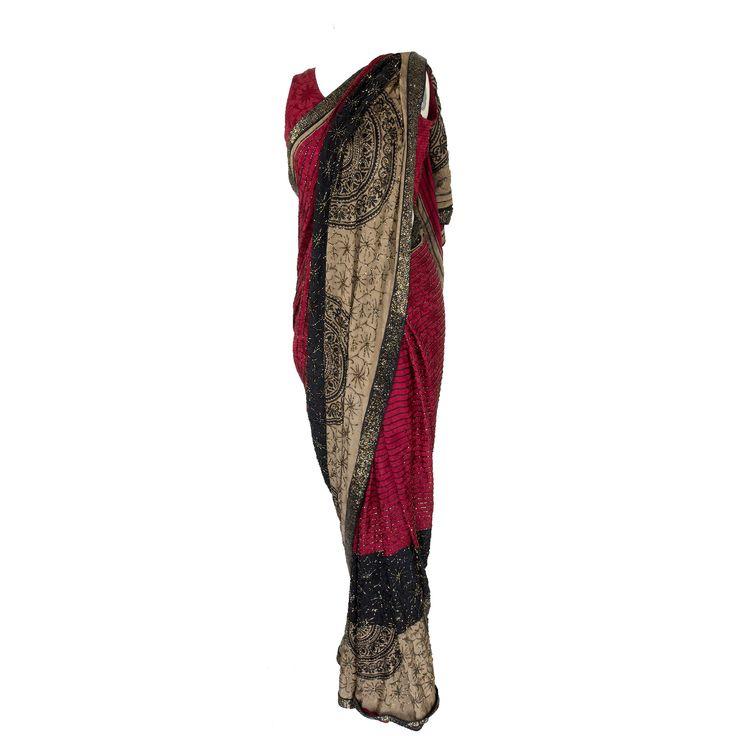 Maroon & Black Sari