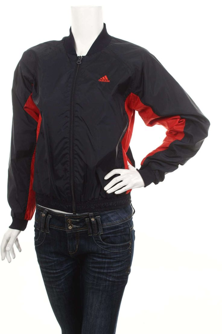 Vintage Adidas Trefoil women's Bomber jacket Black/Red  Size S by VapeoVintage on Etsy