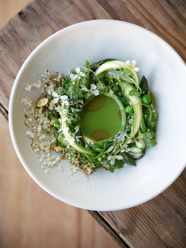 Spring Vegetables with Rye Crumbles + Goat's Milk Curds and Whey Salad - that's what she said