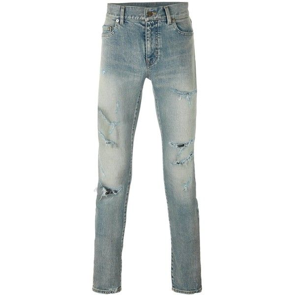 Saint Laurent Distressed Skinny Jeans ($890) ❤ liked on Polyvore featuring men's fashion, men's clothing, men's jeans, blue, mens skinny fit jeans, mens destroyed jeans, mens distressed jeans, mens bleached jeans and mens skinny jeans