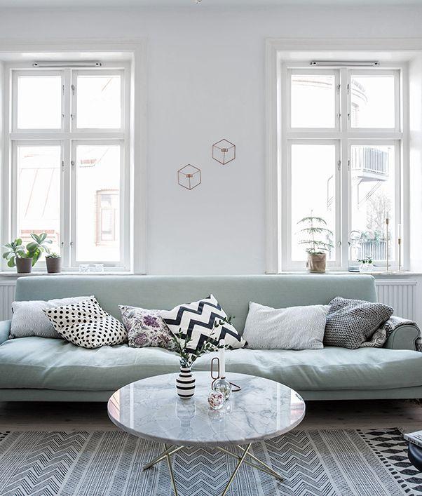 Mint Green Sofa In A Light Home Via Cocolapinedesign Com Blue Sofas Living Room Light Blue Sofa Living Room Blue Sofa Living