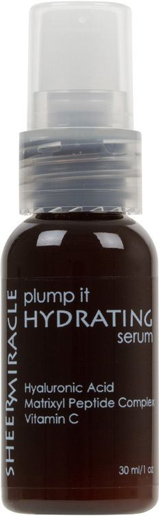 Plump It Hydrating Serum with Hyaluronic Acid: Hyaluronic Acid, Vitamin C and Matrixyl 3000 correct sun damage and plump up fine lines and crows feet making them virtually undetectable. You'll notice instant hydration, then reduction of fine lines and smoother, more even toned skin within weeks.