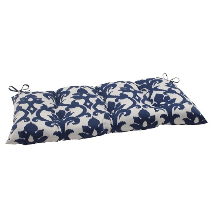 44 Navy Blue and White Floral Victorian Outdoor Patio Tufted Loveseat Cushion