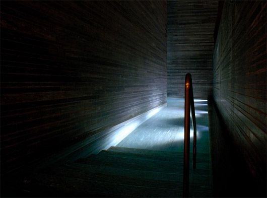 One of the small indoor pools inside Peter Zumthor's Therme in Vals, Switzerland. Beautiful calm and serene atmosphere. So dark! wow!