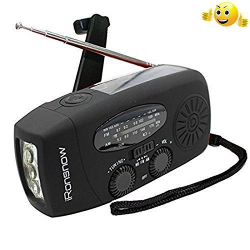 #greatdeal #iRonsnow IS-088 Dynamo Emergency Solar Hand Crank Self Powered AM/FM/NOAA Weather Radio, LED Flashlight, Smart Phone Charger Power Bank with Cables i...