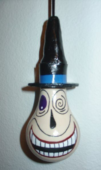 double sided hand painted Nightmare Before Christmas - Mayor light bulb ornament