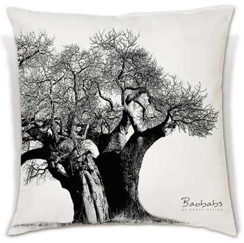 A beautiful black and white Baobab photograph digitally printed onto a soft, comfy cushion. | 340 - R380