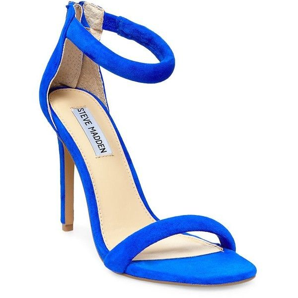 Steve Madden Fancci Suede T-Back Sandal Heels (295 CNY) found on Polyvore featuring women's fashion, shoes, sandals, blue suede, blue sandals, steve-madden shoes, steve madden, suede shoes and blue suede shoes