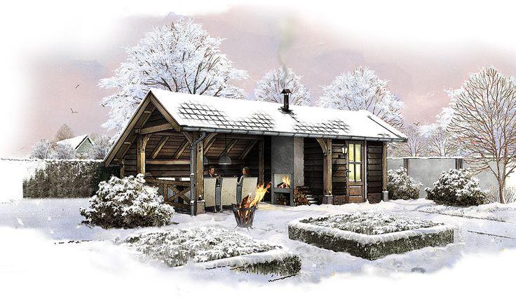 Tuinhuis van hout. Winter. Sneeuw. Openhaard. www.bronkhorstbuitenleven.nl