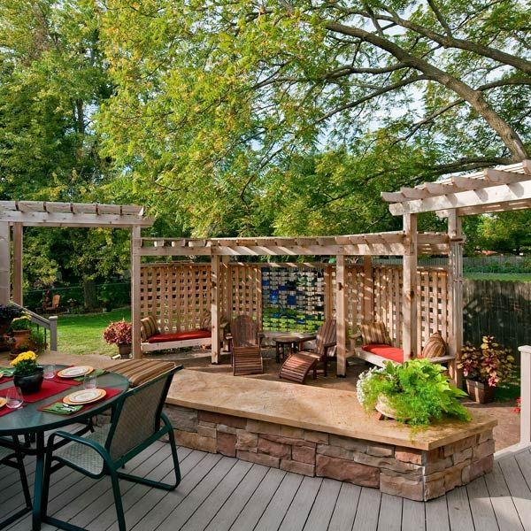 102 best images about deck and backyard privacy ideas on for Garden decking seating areas