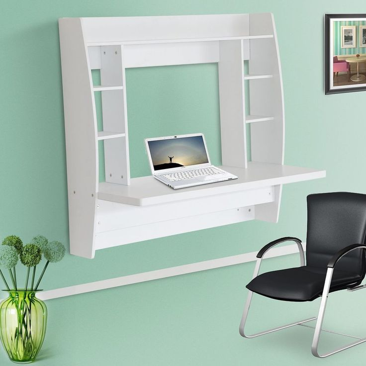 Wall Mounted Floating Desk Shelves White Colour Wooden Office Study Furniture