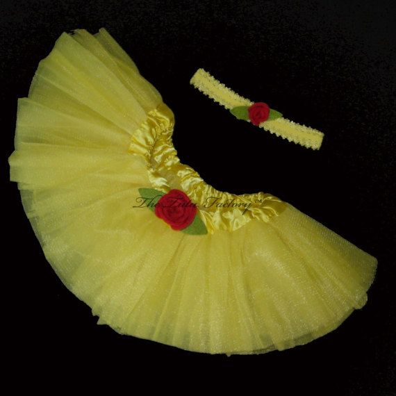 Belle Tutu . YELLOW Tutu . Infants to Toddlers . Red Rose Trim