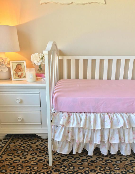 Shabby Chic Roses Crib Skirt, Baby Girl Crib Bedding, Shabby Chic Ruffled Crib Skirt, Girl Baby Bedding, Roses Crib Skirt, Baby Bedding. We can also make this adorable bedding in Childrens size if interested. Crib Skirt 3 Sided---Tiered ruffled crib skirt. 4 Sided available if you