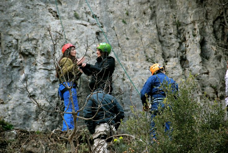 Getting ready for climbing in Nedoysa, Messinia.