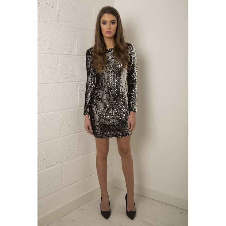 Short long sleeve silver sequin dress by dave and johnny dress