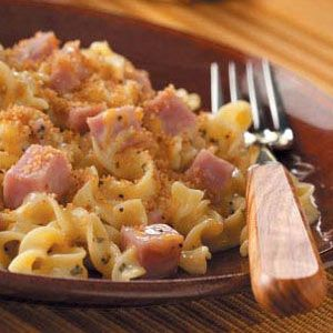 Ham and Noodle Casserole Recipe. I used cream of mushroom instead. And basil insted of oregano WHOOPS. Added one small dash of dry mustard. Hubbs loved it and said it's Make Againable (=