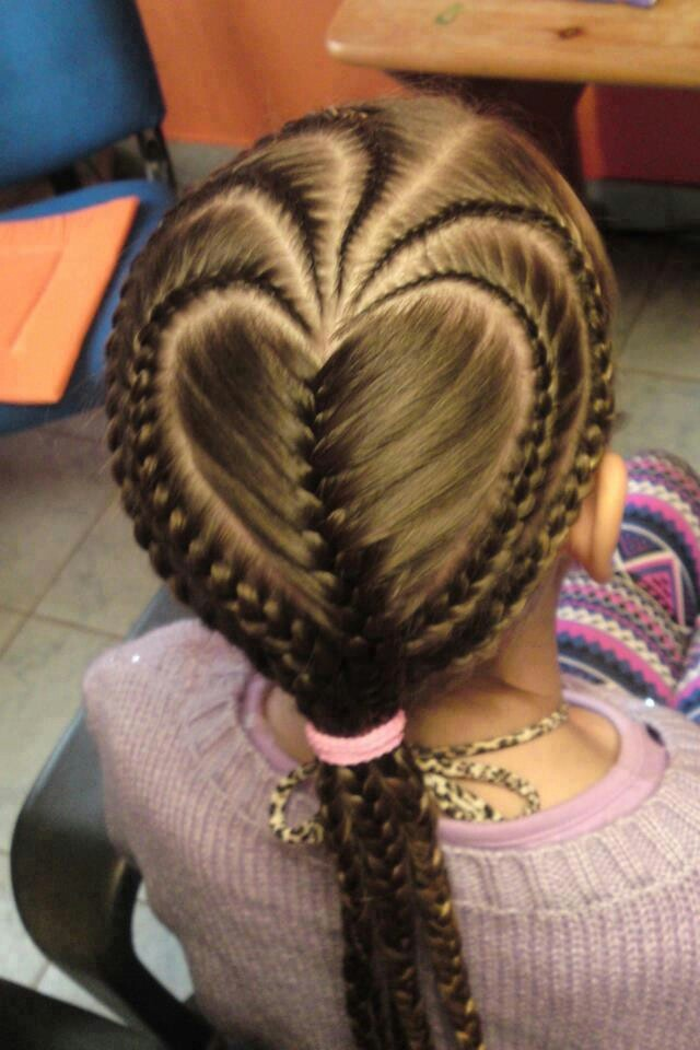 Heart Shape French Braides Braided Hairstyles Valentine