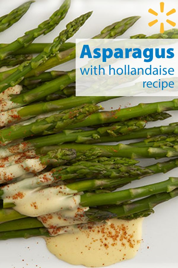 Blanched asparagus is served with an easy blender-made Hollandaise sauce and a sprinkle of cayenne for a little heat.