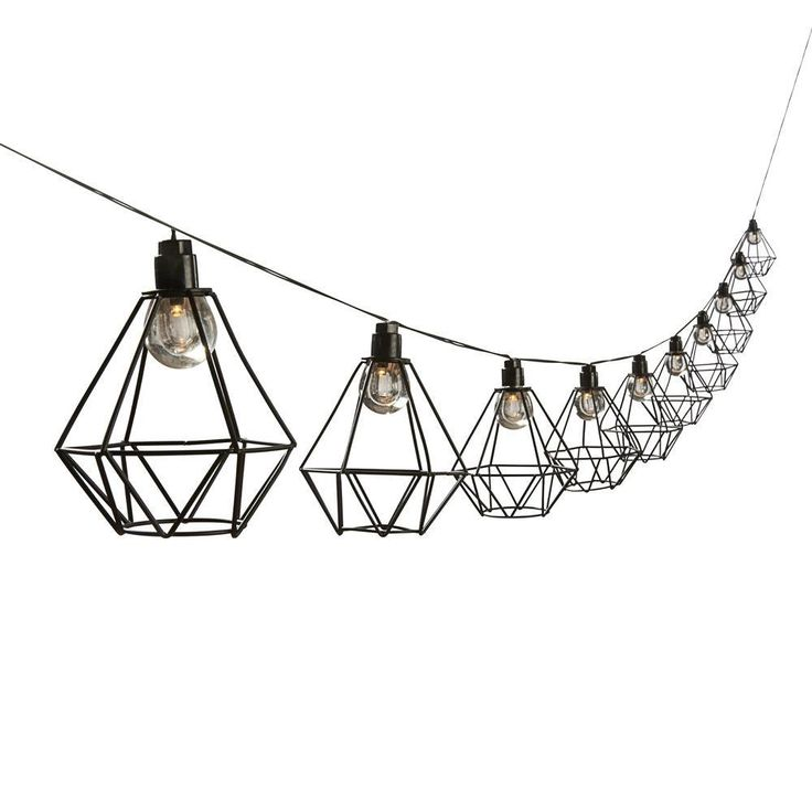 Solar Powered Geo Cage String Lights