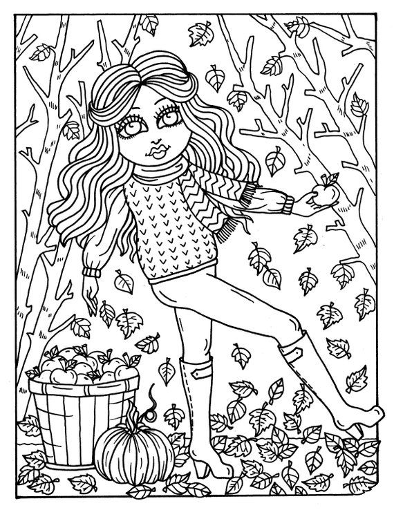 7 Pages Fall Girls Digital Coloring Pages Digi Color Page Etsy In 2021 Fall Coloring Pages Coloring Pages Halloween Coloring Book