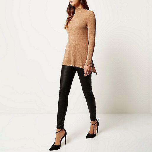 Bruine top met col - T-shirts met lange mouwen - t-shirts/hemdjes - dames