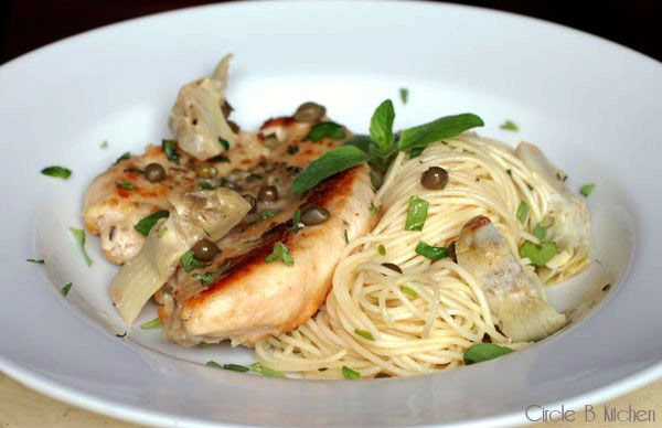 Chicken with Artichokes and Angel Hair Pasta - Circle B Kitchen ...