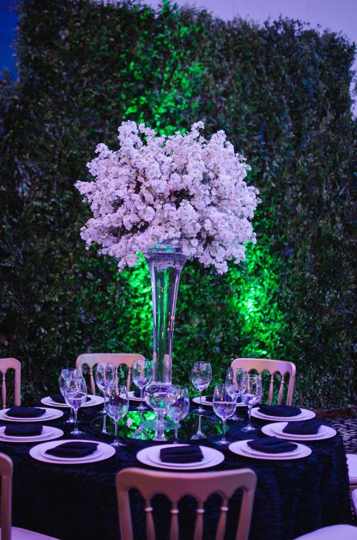 White tall wedding centerpiece.