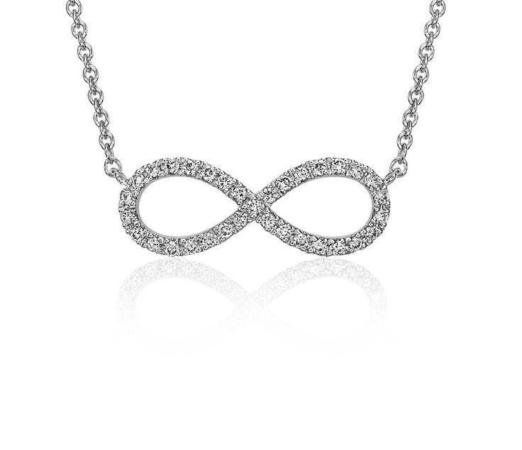 Mini Infinity Diamond Necklace in 14k White Gold | #Jewelry #Fashion #Style