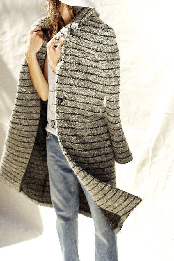#street #style / striped knit coat