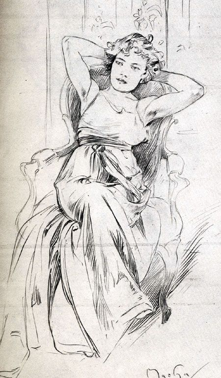 Mucha drawing ✏✏✏✏✏✏✏✏✏✏✏✏✏✏✏✏ ARTS ET PEINTURES - ARTS AND PAINTINGS ☞…