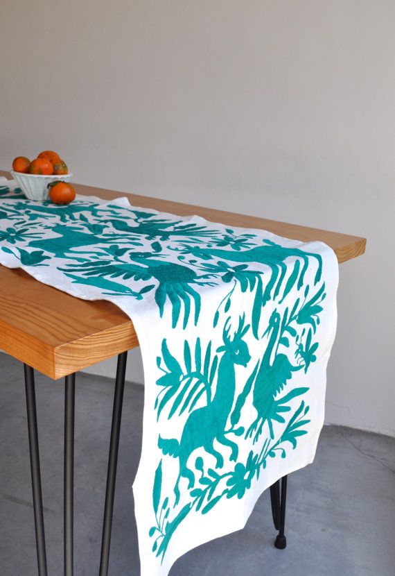 OTOMI TABLE RUNNER   Teal. Mexican StyleMexican ...