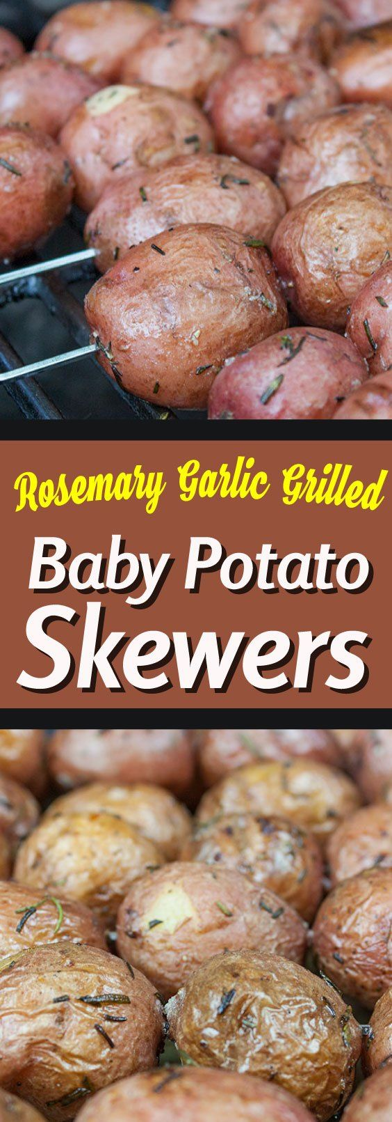 Rosemary Garlic Grilled Baby Potato Skewers - A great side dish for those summer barbecues. Fluffy inside, slightly crispy outside, infused with herb and garlic flavor.