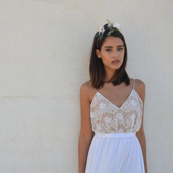 Lace wedding dress, boho lace wedding dress-This romantic vintage style wedding dress is perfect for a classic wedding or a party with lace top and nude