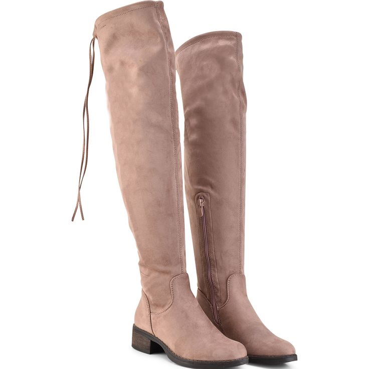 Pink suede over the knee boot Lets Walk JN77-06