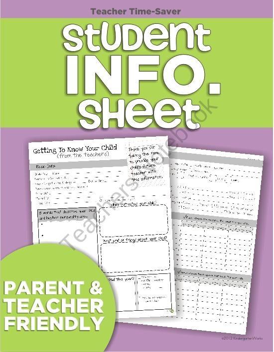 Student Information Sheet from KindergartenWorks on TeachersNotebook.com (2 pages)