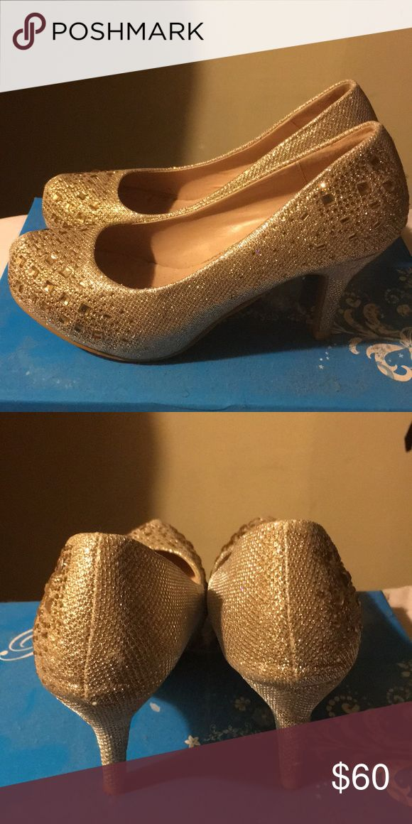 Bedazzled heels Sequin, bedazzled. Great shoes for church and any special events. And perfect for girls who are started out with heels. Bella Luna Shoes Heels
