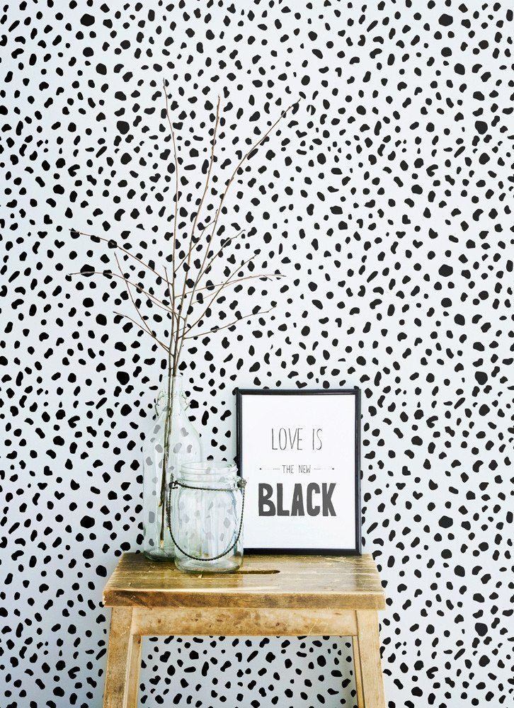 Trendy interior with dalmatian spot removable wallpaper