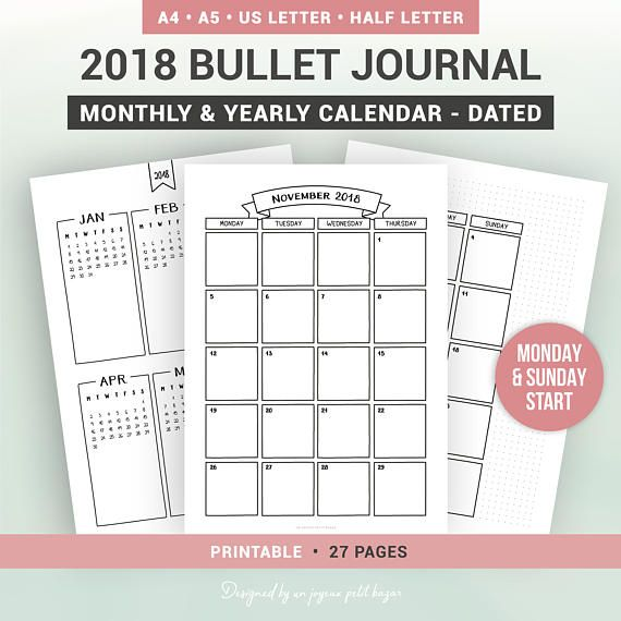The 25+ best 2018 yearly calendar ideas on Pinterest Bullet - yearly calendar