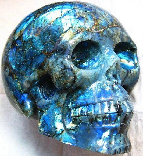 Labradorite Crystal Skull 001c by SKULLKRAFT.deviantart.com on @DeviantArt