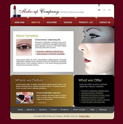 Make-up Cosmetic Website Templates by Delta
