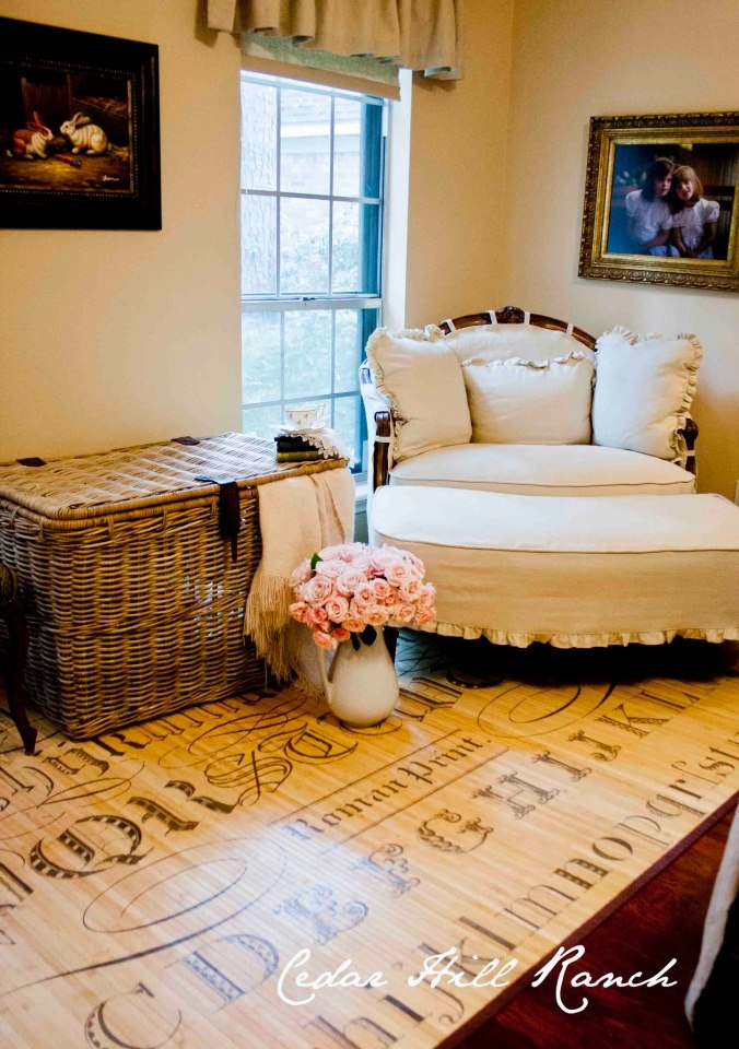 The beautiful Typography Bamboo Rug from decor steals ~ Cedar Hill Ranch :: This rug looks great in this room!