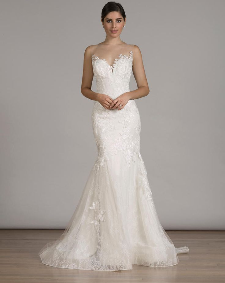 LIANCARLO white lace mermaid wedding dress with illusion sweetheart neckline from Fall 2016
