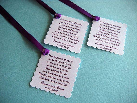 500 Custom Printed Jordan Almond Wedding Favor Tags In White And Purple Reserved For Lauren