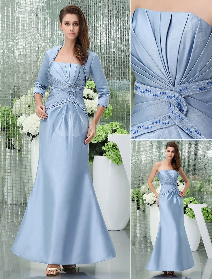 Blue Mother Of The Bride Dress Suits With Jacket Strapless Pleats Beading Mermaid Floor-Length Evening Dress